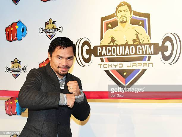 Manny Pacquiao attends the opening event for his boxing gym on November 25 2016 in Tokyo Japan