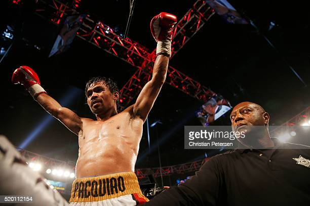 Manny Pacquiao celebrates after defeating Timothy Bradley Jr by unanimous decision in their welterweight championship fight on April 9 2016 at MGM...