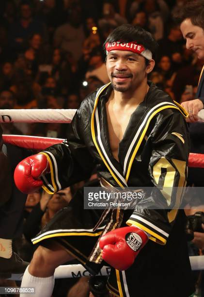 Manny Pacquiao enters the ring before fighting Adrien Broner in the WBA welterweight championship at MGM Grand Garden Arena on January 19 2019 in Las...