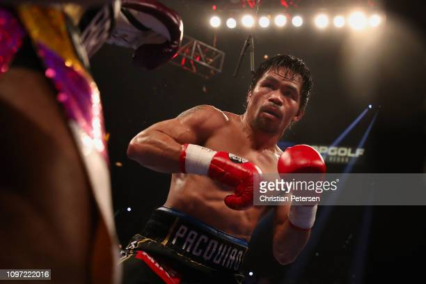 Manny Pacquiao fights Adrien Broner during the WBA welterweight championship at MGM Grand Garden Arena on January 19 2019 in Las Vegas Nevada