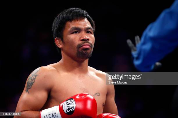 Manny Pacquiao gets ready for the start of his WBA welterweight title fight against Keith Thurman at MGM Grand Garden Arena on July 20 2019 in Las...
