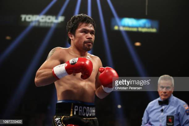 Manny Pacquiao in the ring during the WBA welterweight championship against Adrien Broner at MGM Grand Garden Arena on January 19 2019 in Las Vegas...