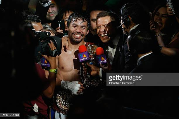 Manny Pacquiao is interviewed after defeating Timothy Bradley Jr by unanimous decision in their welterweight championship fight on April 9 2016 at...