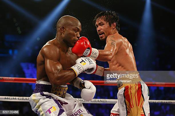 Manny Pacquiao lands a left to the chin of Timothy Bradley Jr during their welterweight championship fight on April 9 2016 at MGM Grand Garden Arena...