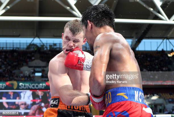 Manny Pacquiao lands a punch on Jeff Horn during the WBO Welterweight Title Fight between Jeff Horn of Australia and Manny Pacquiao of the...