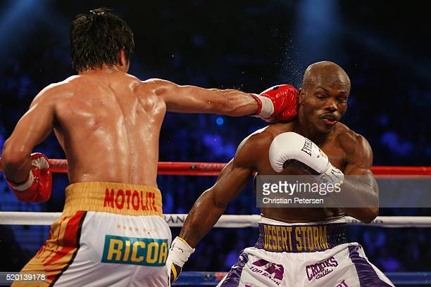 Manny Pacquiao lands a right to the head of Timothy Bradley Jr during their welterweight championship fight on April 9 2016 at MGM Grand Garden Arena...