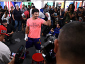hollywood california manny pacquiao laughs with