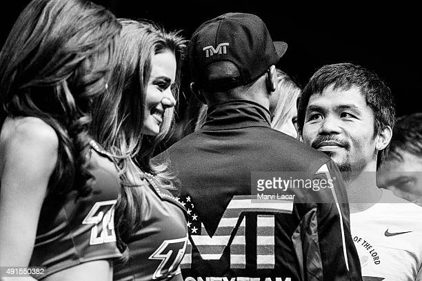 Manny Pacquiao locks eyes with Floyd Mayweather Jr on May 1 at the MGM Grand Garden Arena in Las Vegas Nevada at the final weighin before their fight