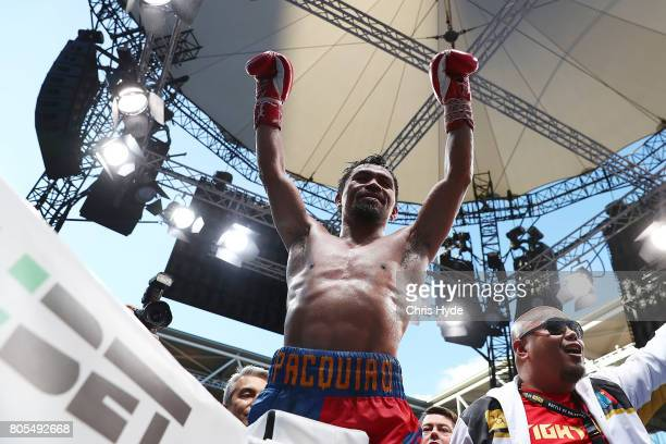 Manny Pacquiao of the Philippines after the WBO World Welterweight Title Fight against Jeff Horn of Australia at Suncorp Stadium on July 2 2017 in...