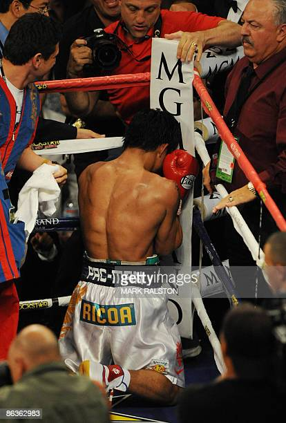 Manny Pacquiao of the Philippines celebrates after knocking out Ricky Hatton of England to win their Welterweight title fight at the MGM Grand Garden...