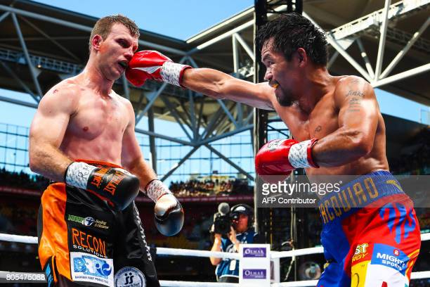 Manny Pacquiao of the Philippines fight Jeff Horn of Australia during the World Boxing Organization boat at Suncorp Stadium in Brisbane on July 2,...