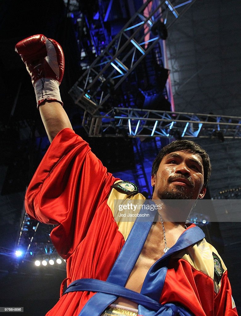 Manny Pacquiao of the Philippines in the ring before taking on Joshua Clottey of Ghana during the WBO welterweight title fight at Cowboys Stadium on March 13, 2010 in Arlington, Texas.