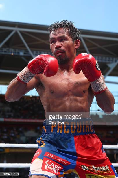 Manny Pacquiao of the Philippines looks on during the WBO World Welterweight Title Fight against Jeff Horn of Australia at Suncorp Stadium on July 2...