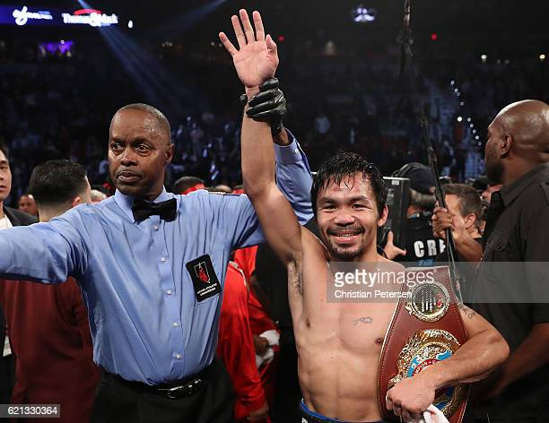 Manny Pacquiao of the Philippines poses after his unanimousdecision victory over Jessie Vargas at the Thomas Mack Center on November 5 2016 in Las...