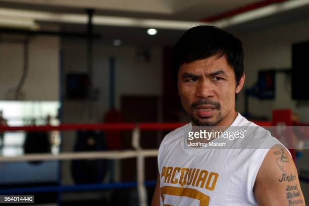 Manny Pacquiao of the Philippines undergoes training ahead of his WBA Welterweight title bout against Lucas Matthysse of Argentina in July on May 2...