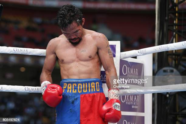 Manny Pacquiao of the Philippines walks back to his corner during the WBO World Welterweight Title Fight against Jeff Horn of Australia at Suncorp...