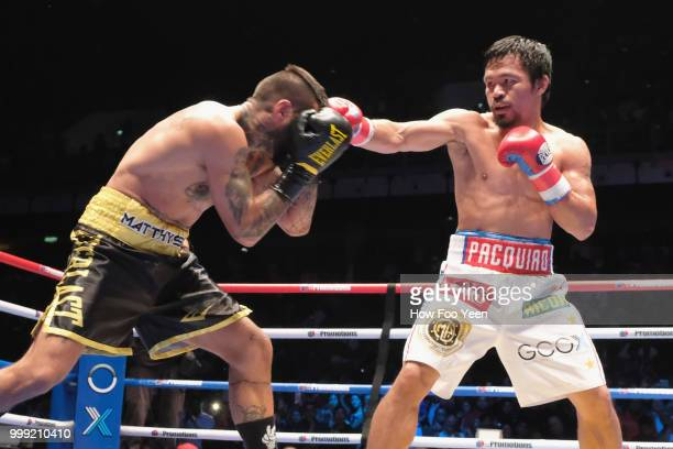 Manny Pacquiao of the Phillipines and Lucas Matthysse of Argintine in action on July 15 2018 in Kuala Lumpur Malaysia