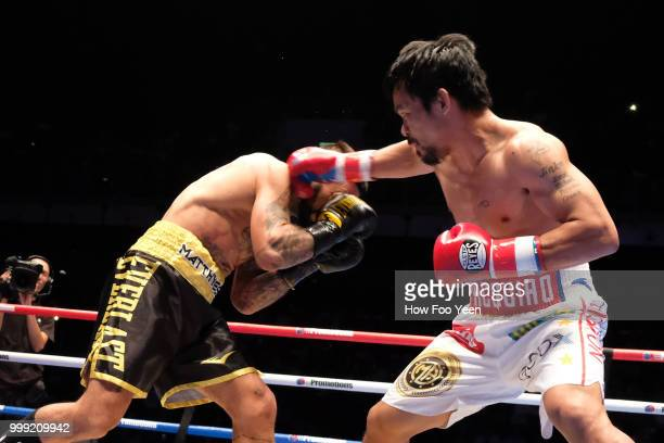 Manny Pacquiao of the Phillipines and Lucas Matthysse of Argintine on July 15 2018 in Kuala Lumpur Malaysia