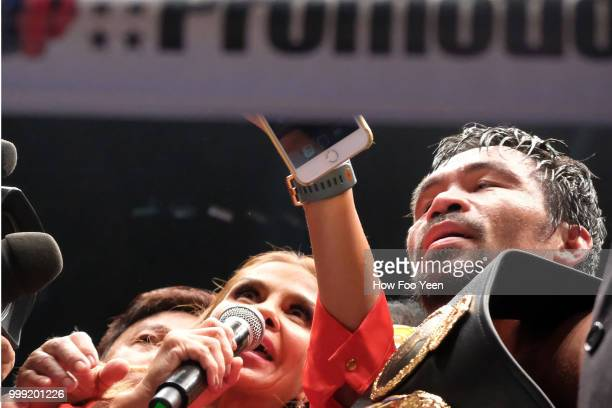 Manny Pacquiao of the Phillipines celebrates after defeating Lucas Matthysse of Argintine on July 15 2018 in Kuala Lumpur Malaysia