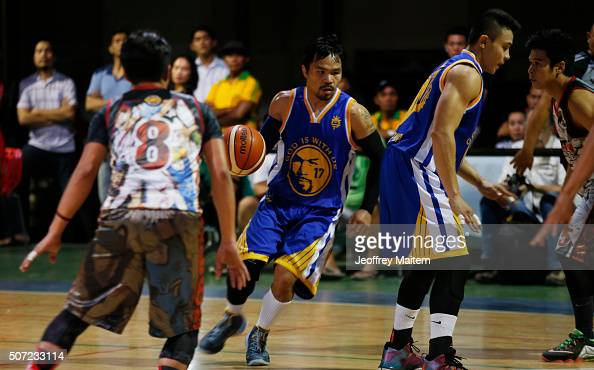 Manny Pacquiao plays basketball at his residence after a training... News Photo ...