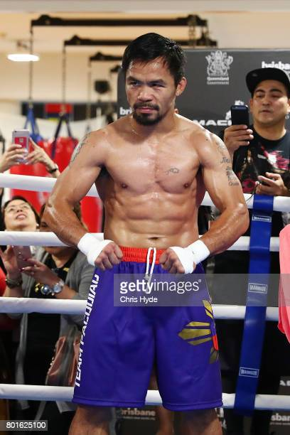 Manny Pacquiao poses during a training session at Lang Park PCYC on June 27 2017 in Brisbane Australia