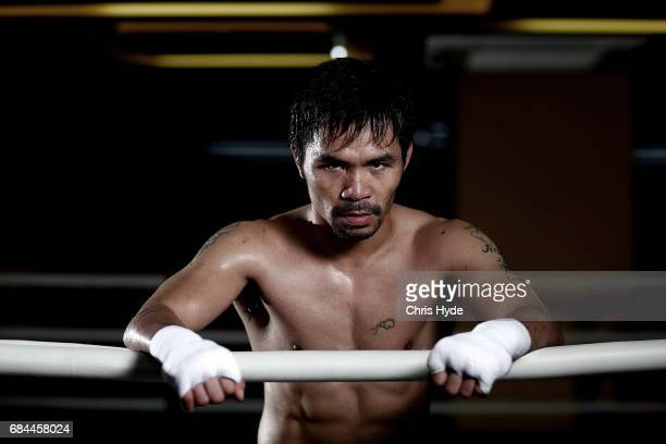 < Manny Pacquiao poses for a portrait during a training session at the Elorde boxing Gym on May 19 2017 in Manila Philippines