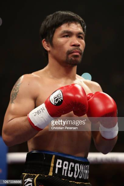 Manny Pacquiao prepares to fight Adrien Broner during the WBA welterweight championship at MGM Grand Garden Arena on January 19 2019 in Las Vegas...