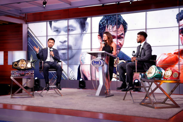 Manny Pacquiao speaks during a press conference for his fight against Errol Spence Jr at Fox Studios on July 11, 2021 in Los Angeles, California....