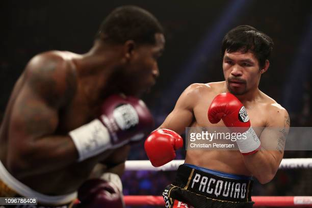 Manny Pacquiao squares up with Adrien Broner during the WBA welterweight championship at MGM Grand Garden Arena on January 19 2019 in Las Vegas Nevada
