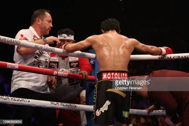 Manny Pacquiao stands in his corner during the WBA welterweight championship against Adrien Bronerat MGM Grand Garden Arena on January 19 2019 in Las...