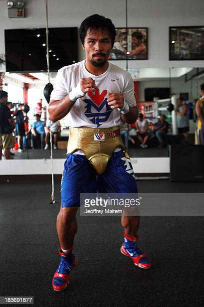 Manny Pacquiao takes part in a training session on October 9 2013 in General Santos Philippines Pacquiao will fight against Brandon Rios on November...