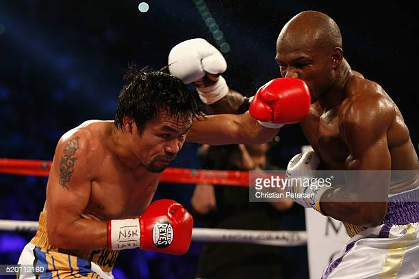 Manny Pacquiao throws a left at Timothy Bradley Jr during their welterweight championship fight on April 9 2016 at MGM Grand Garden Arena in Las...
