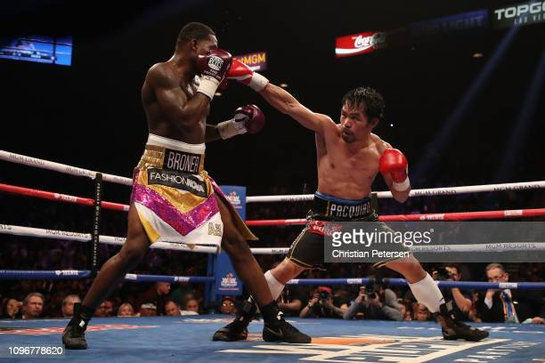 Manny Pacquiao throws a right on Adrien Broner during the WBA welterweight championship at MGM Grand Garden Arena on January 19, 2019 in Las Vegas,...