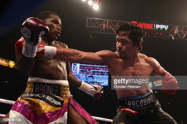 Manny Pacquiao throws a right on Adrien Broner during the WBA welterweight championship at MGM Grand Garden Arena on January 19 2019 in Las Vegas...