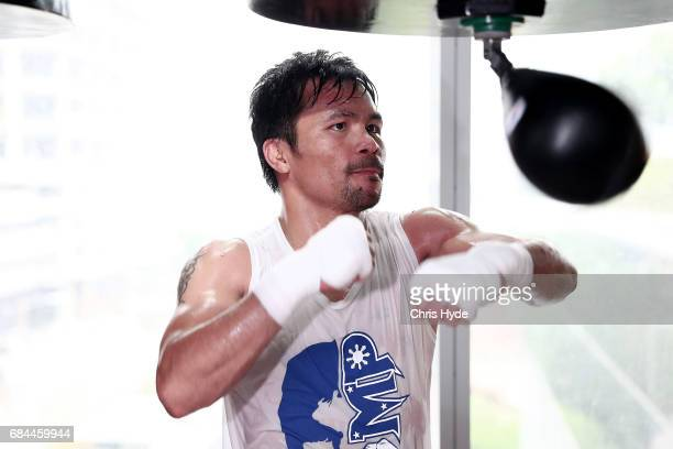 Manny Pacquiao trains at Elorde boxing Gym on May 19 2017 in Manila Philippines