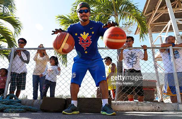 Manny Pacquiao trains at Pedro Acharon Sports Complex on January 28 2016 in General Santos Philippines Pacquiao faces Timothy Bradley in the world...