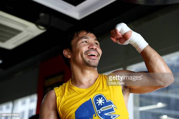 Manny Pacquiao trains at the Elorde boxing Gym on May 17 2017 in Manila Philippines