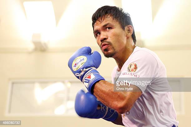 Manny Pacquiao trains during a workout session at The Venetian on November 20 2014 in Macau Macau