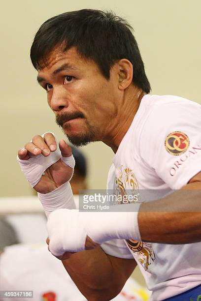 Manny Pacquiao trains during a workout session at The Venetianon November 21 2014 in Macau Macau