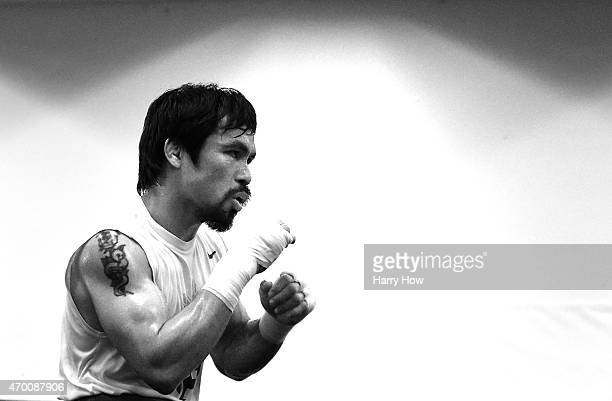 Manny Pacquiao trains in prepation for his fight against Floyd Mayweather Jr at the Wild Card Boxing Club on April 13 2015 in Los Angeles California
