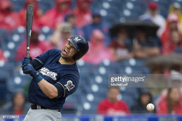 Manny Pina of the Milwaukee Brewers reacts after getting hit by a pitch in the top of the fifth inning against the Philadelphia Phillies at Citizens...