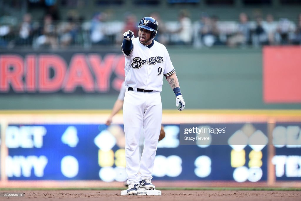 Manny Pina #9 of the Milwaukee Brewers reacts to an rbi double during the first inning against the St. Louis Cardinals at Miller Park on August 1, 2017 in Milwaukee, Wisconsin.