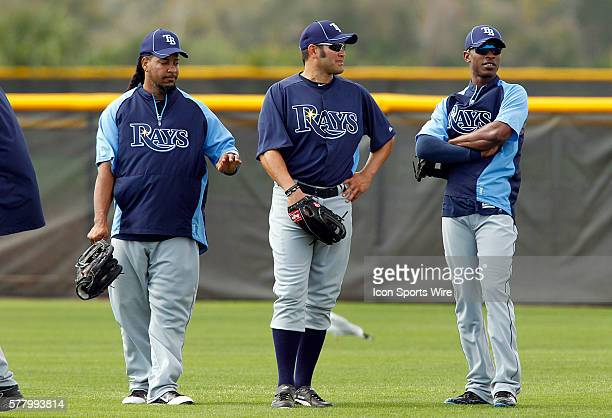 Manny Ramirez Johnny Damon and B J Upton gather together in the outfield during the Rays spring training work out at the Charlotte Sports Park in...