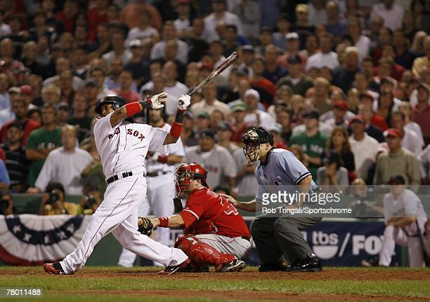 Manny Ramirez of the Boston Red Sox hits a walkoff game winning home run off Francisco Rodriguez of the Los Angeles Angels of Anaheim during game two...