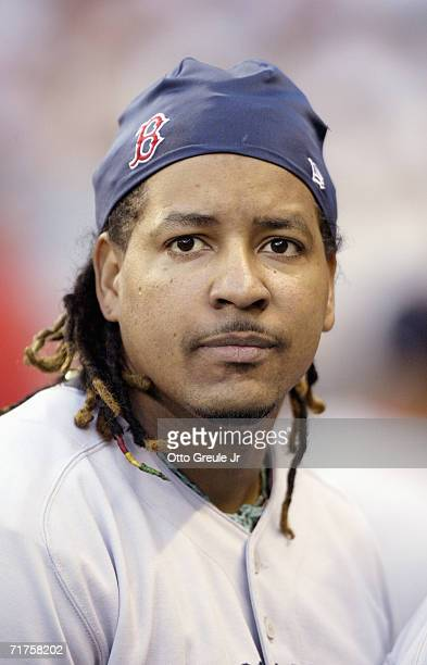 Manny Ramirez of the Boston Red Sox looks on before the game against the Seattle Mariners on August 26 2006 at Safeco Field in Seattle Washington