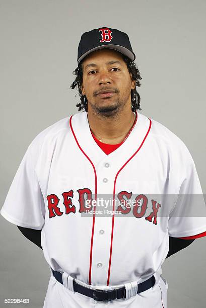 Manny Ramirez of the Boston Red Sox poses for a portrait during photo day at City of Palms Park on February 26 2005 in Ft Myers Florida