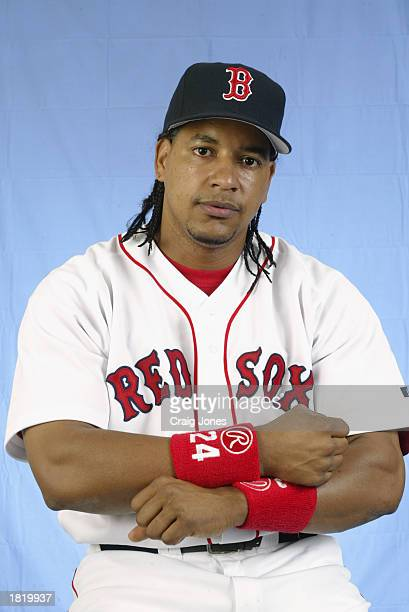 Manny Ramirez of the Boston Red Sox poses for a portrait during the Red Sox spring training Media Day on February 23 2003 at Ed Smith Stadium in...