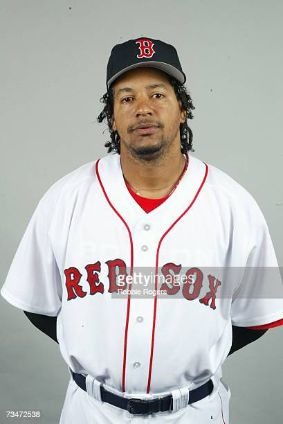 Manny Ramirez of the Boston Red Sox poses for a portrait poses during photo day at City of Palms Park on February 26 2005 in Ft Myers Florida