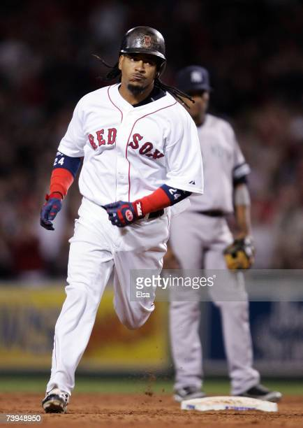 Manny Ramirez of the Boston Red Sox rounds the bases after he hit a solo home run in the third inning against the New York Yankees on April 22, 2007...