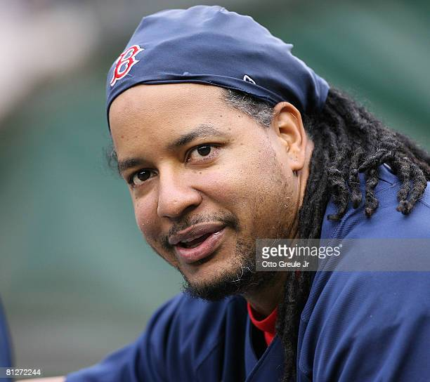 Manny Ramirez of the Boston Red Sox smiles while stretching prior to their game against the Seattle Mariners on May 28 2008 at Safeco Field in...